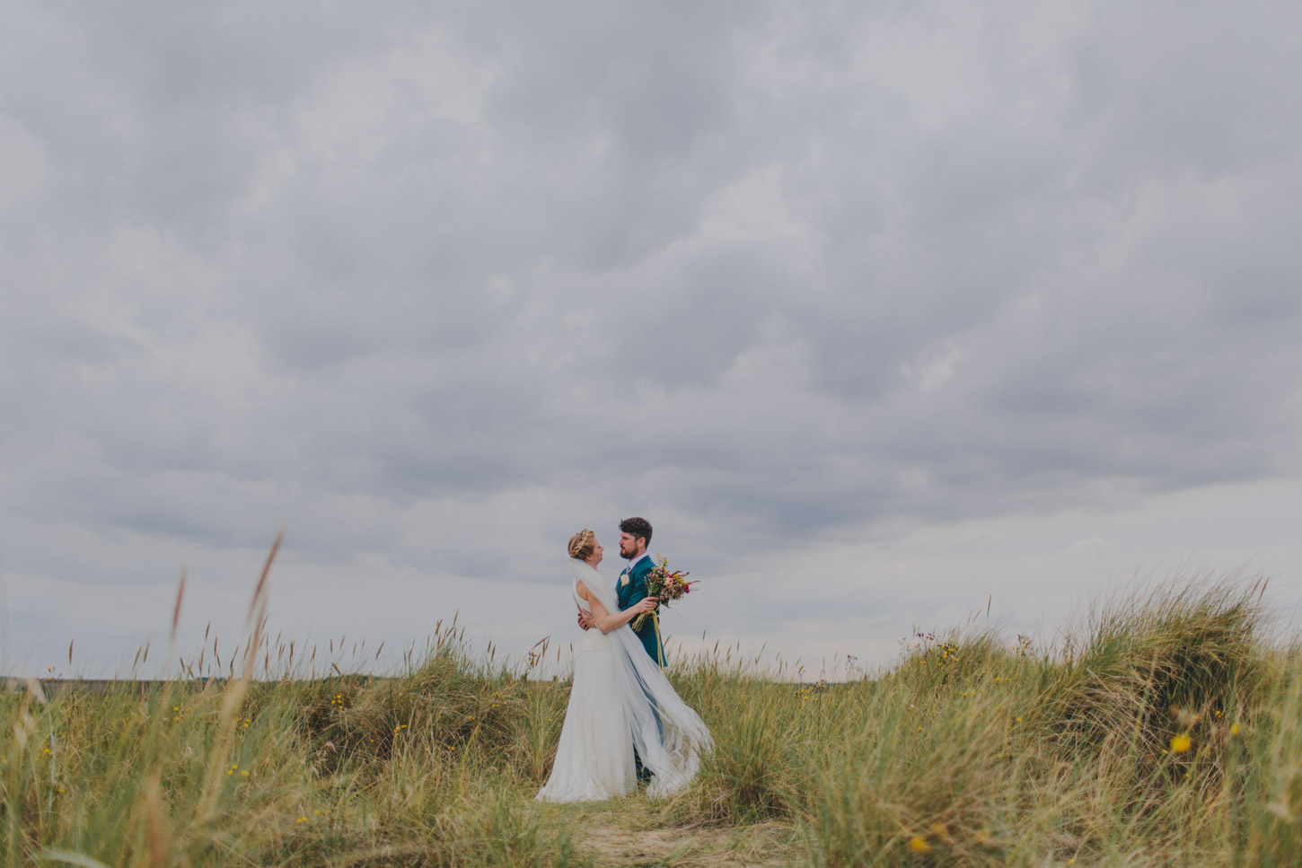 photograph of bride and groom in Norfolk  Dunes